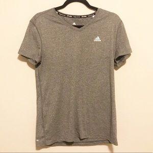 Adidas Gray Climalite V Neck Short Sleeve T Shirt